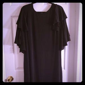 Plus size ruffled sleeve dress